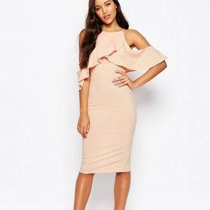 ASOS Cold Shoulder Midi Dress Pink Blush